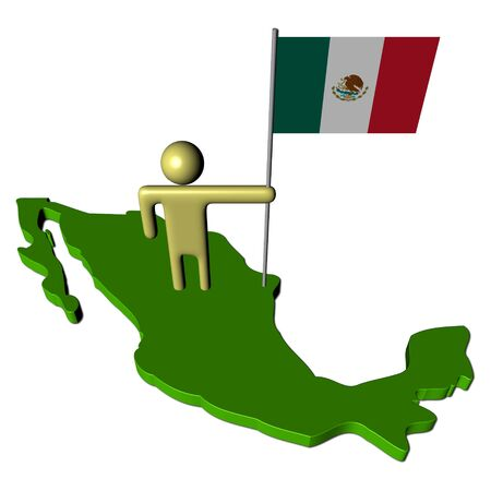 abstract person with Mexican flag on map illustration illustration