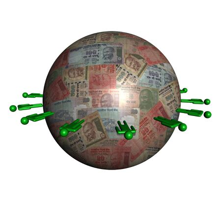 circle of abstract people around Indian Rupees sphere illustration illustration