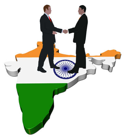 negotiation business: Business people shaking hands on India map flag illustration