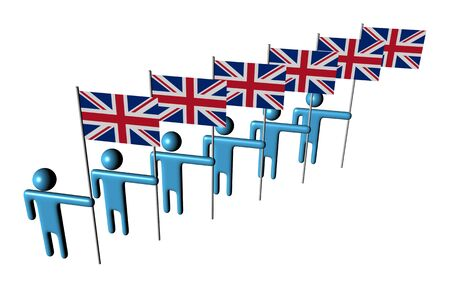 line of 3d abstract men holding British flags illustration Stock Illustration - 6405544