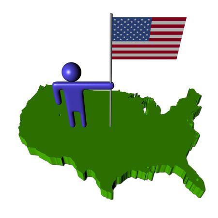 地図イラストの米国旗を持つ抽象的な人