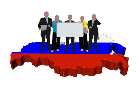 business team with sign on Russia map flag illustration