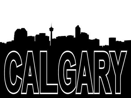 calgary: Calgary skyline black silhouette on white
