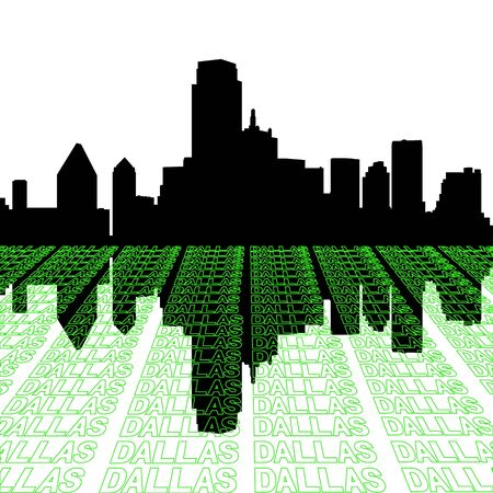 Dallas skyline with perspective text outline foreground photo