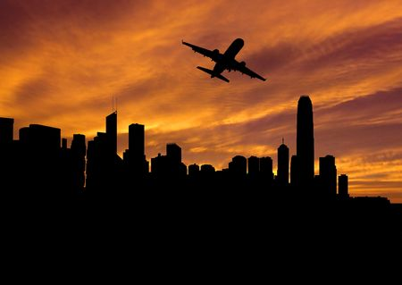 plane departing Hong Kong at sunset illustration illustration