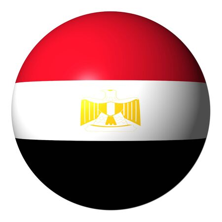 Egyptian flag sphere isolated on white illustration illustration