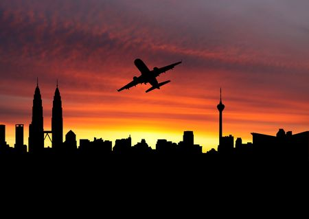 plane departing Kuala Lumpur at sunset illustration Stock Illustration - 6423880
