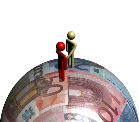 negotiator: abstract people shaking hands on euro sphere illustration Stock Photo