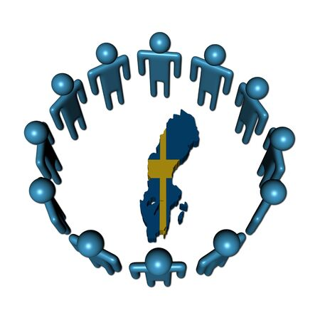 Circle of abstract people around Sweden map flag illustration Stock Illustration - 6423986
