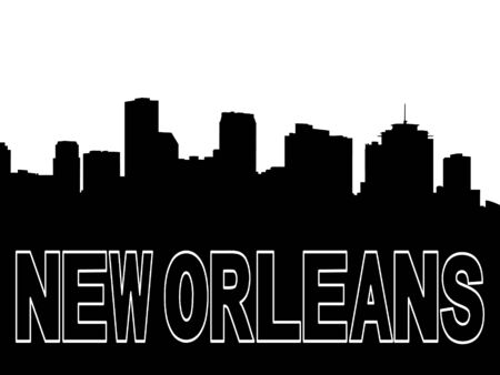 new orleans: New Orleans skyline black silhouette on white