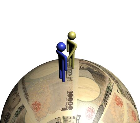 abstract people shaking hands on yen sphere illustration Stock Illustration - 6461156