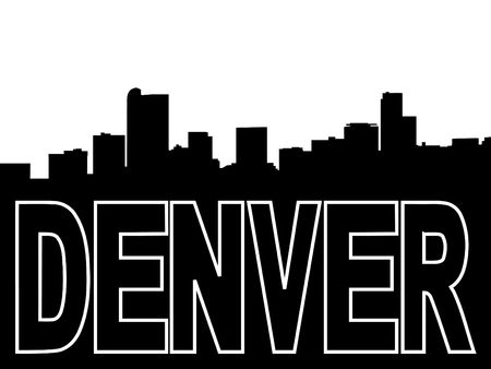 denver skyline: Denver skyline black silhouette on white