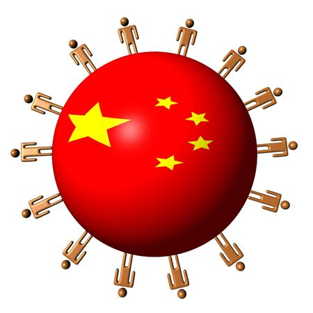 multitude: circle of abstract people around China flag sphere illustration Stock Photo