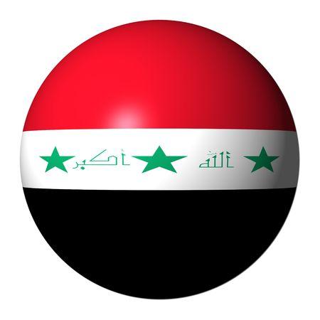 iraqi: Iraqi flag sphere isolated on white illustration Stock Photo