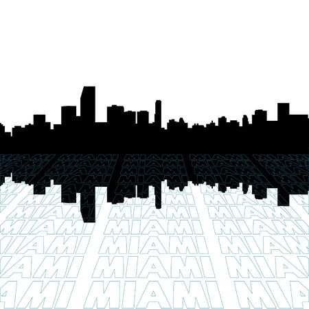 Miami skyline with perspective text outline foreground photo
