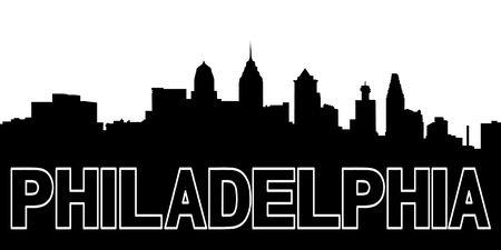 Silhouet van Philadelphia skyline zwart op wit Stockfoto
