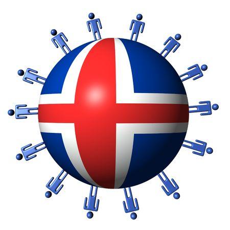 icelandic flag: c�rculo de personas abstractas alrededor de ilustraci�n de esfera de bandera de Islandia