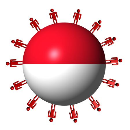 the indonesian flag: circle of abstract people around Indonesian flag sphere illustration