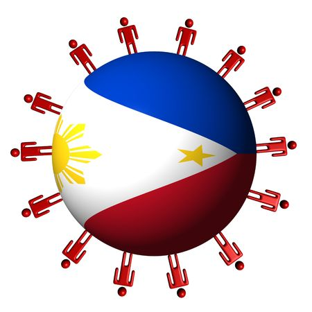 philippine: circle of abstract people around Philippine flag sphere illustration