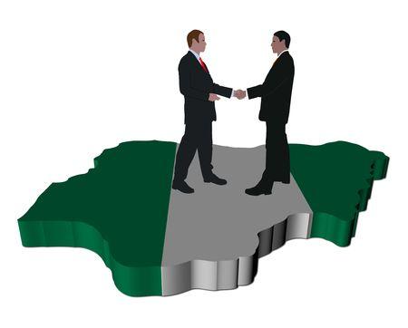 Business people shaking hands on Nigeria map flag illustration illustration