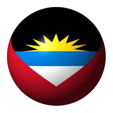 antigua flag: Antigua flag sphere isolated on white illustration
