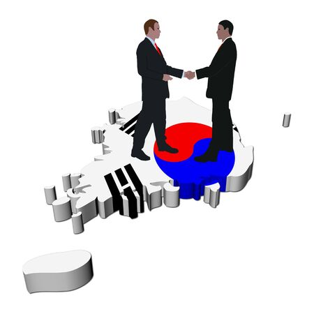 south asian: Business people shaking hands on South Korea map flag illustration