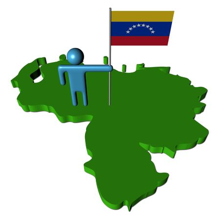 abstract person with Venezuela flag on map illustration illustration