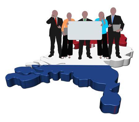 business team with sign on Netherlands map flag illustration illustration