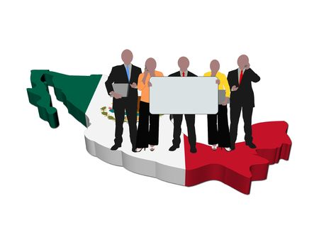 business team on Mexico map flag illustration