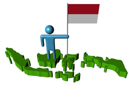 the indonesian flag: person with Indonesian flag on map illustration