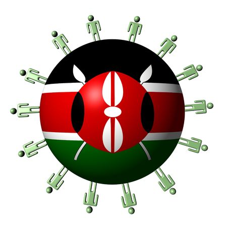 multitude: circle of people around Kenyan flag sphere illustration