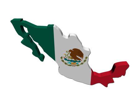 mexiko karte: Mexiko Karte Flag 3d Render auf wei�en illustration