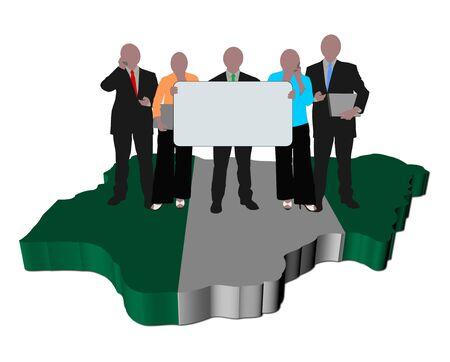 nigeria: business team on Nigeria map flag illustration