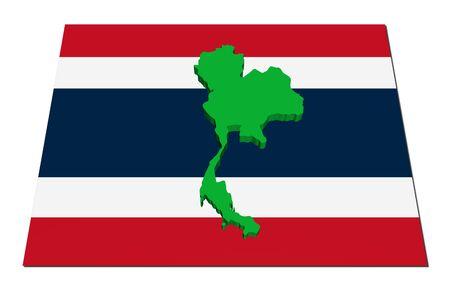 Thailand 3d render map on their flag illustration Stock Illustration - 6572101