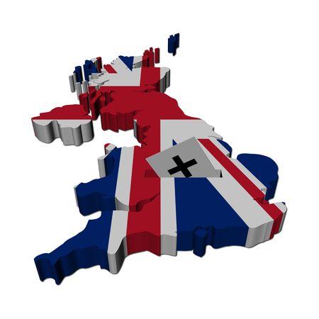 democracia: Mapa de las elecciones brit�nicas del Reino Unido con ilustraci�n de papel de votaci�n