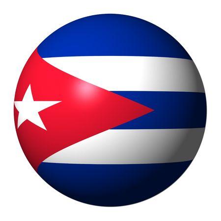 bandera cuba: Bandera de Cuba esfera aislado en ilustraci�n blanco