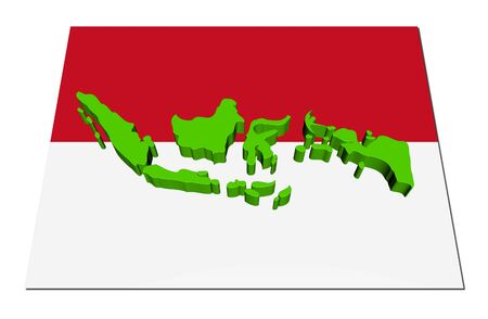 Indonesia 3d render map on their flag illustration illustration