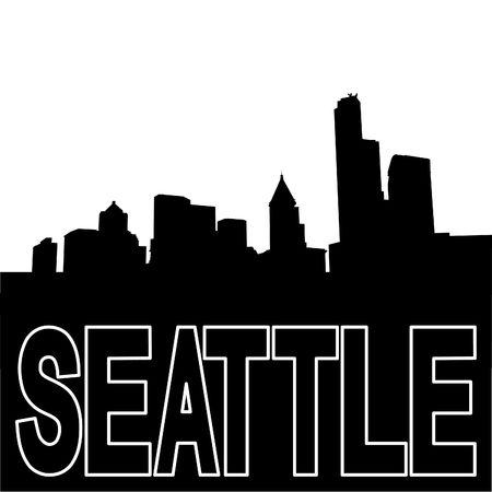 seattle skyline: Seattle skyline black silhouette on white illustration Stock Photo
