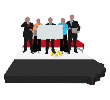 business team with sign on Egypt map flag illustration illustration