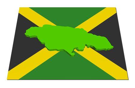 Jamaica 3d render map on their flag illustration illustration