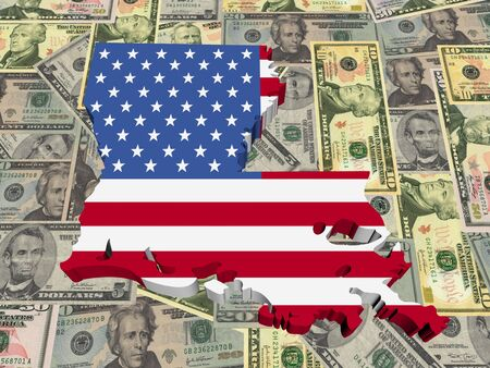 Louisiana 3d Map flag on American dollars illustration Stock Illustration - 6599243