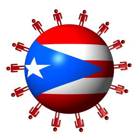 puerto rican flag: circle of people around Puerto Rico flag sphere