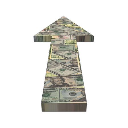 American dollars arrow on white illustration illustration