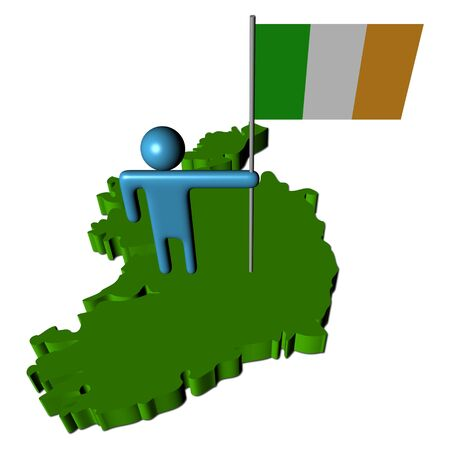 irish pride: abstract person with Irish flag on map illustration Stock Photo