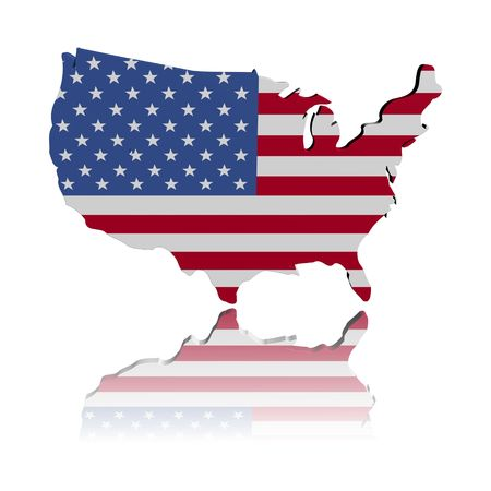 USA map flag 3d render with reflection illustration