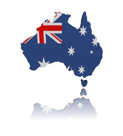Australia map flag with reflection illustration illustration