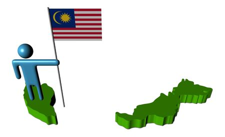abstract person with Malaysian flag on map illustration illustration