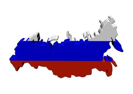 federation: Russian Federation map flag 3d render on white illustration