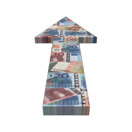 European euros arrow on white illustration illustration