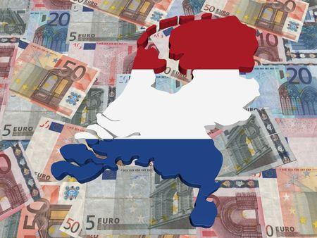 Netherlands Map flag on euro currency illustration illustration